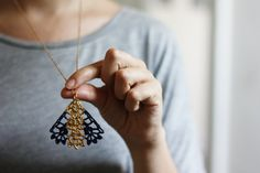Pendant lace necklace blue with gold painted pattern by loukippi, €21.00