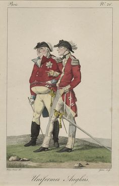 French print: Uniforms Anglais, c 1816, Fitzwilliam Museum