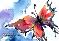 Butterfly Song 2 ... Original Watercolor  by Kathy Morton Stanion