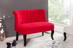 Design Sofa BOUTIQUE hochwertiger Leinenstoff rot mit Nackenrolle