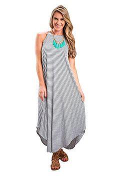 JYUAN Women s Casual Summer Sleeveless Striped Beach Long Maxi Dress  Women s Dresses 8d9d68d4cf01