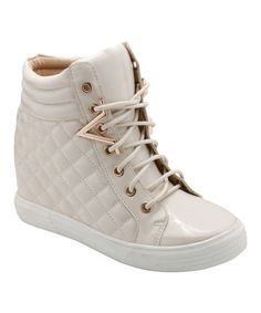 Another great find on #zulily! Beige & White Quilt Hi-Top Sneaker #zulilyfinds