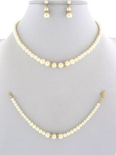Fashion Jewelry ~ Cream Faux Pearls Accented with Crystals Goldtone Necklace and Earrings Set