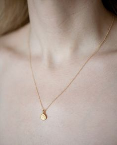 14k Gold Vermeil Tiny A- Initial Necklace