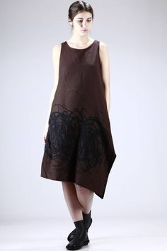 Shu Moriyama | wide calf-length dress in gauzed cotton, rayon and silk canvas with 'brush strokes' printing |