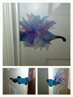 My homemade door muffler made out of an old t-shirt and a bow my girls don't wear anymore :) super easy!