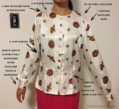 updating a thrift store blouse by changing the fit of the sleeves and the shoulder placement.
