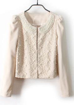 Beige Pearls Lace Embellished Peter Pan Collar Blazer