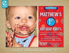 Printable Polka Dot Birthday Invitation with Photo