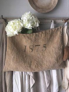 Antique Grain sack Primitive Pocket Burlap Sacks, Grain Sack, Decorating Your Home, Farmhouse Style, Primitive, Favorite Things, Reusable Tote Bags, Textiles, Pocket