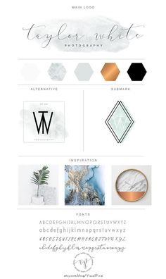 Branding Package  Marble and Copper Minimalist Logo by VisualPixie