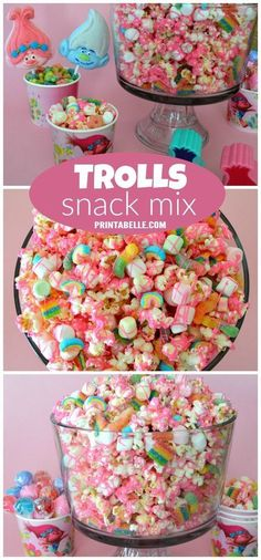Poppy's Pink Trolls Party Snack Mix Poppy's Pink Trolls Party Snack Mix. This would be so cute for our trolls birthday party. 4th Birthday Parties, 2nd Birthday, Princess Poppy Birthday Party, Princess Party Snacks, Birthday Ideas For Kids, Princess Poppy Cake, Kids Birthday Party Ideas, Girl Party Foods, Birthday Party Snacks