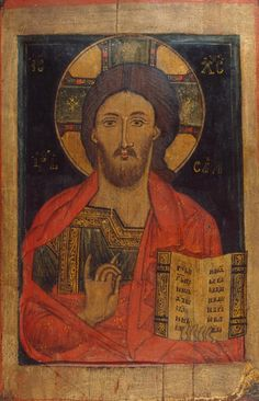A Russian thirteenth- to fourteenth-century icon depicting Christ Pantocrator; Christ is identifiable by his cruciform halo, and holds a book, denoting the New Testament, while making a gesture of blessing. (The State Hermitage Museum) Images Of Christ, Religious Images, Religious Icons, Religious Art, Byzantine Icons, Byzantine Art, Hermitage Amsterdam, Christ Pantocrator, Jesus Christus
