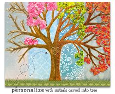 Four Season Tree customize with initials by MakeHappyHearts