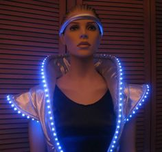 apace themed outfits | front, side, and back views of space dress with blue lights
