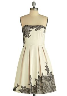 Exquisitely Edgy Dress by Max and Cleo - White, Black, Floral, Pleats, A-line, Strapless, Formal, Wedding, Party, Vintage Inspired, Lace, Mid-length