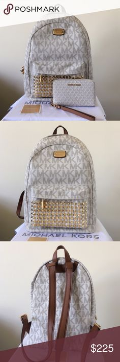 NWOT Michael Kors Large Studded Backpack & Wallet A stunning set! Great size. Authentic.  The backpack is in large size. New without tags.  Wallet shows minimum wear on the hardware. Overall in good condition.   Measurement: 15*12*5.5 inch  Dust bag is included Michael Kors Bags Backpacks