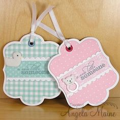 His and Her baby tags by Arizona Maine - Cards and Paper Crafts at Splitcoaststampers Handmade Gift Tags, Handmade Birthday Cards, Handmade Envelopes, Stocking Stuffers For Women, Baby Shower Tags, Baby Girl Cards, Card Tags, Card Kit, Paper Tags