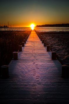 Sunrise,  Bryggan Bridge, Sweden, Norrbotten, by Håkan Johansson