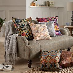 Buy Liberty Faria Flowers Cushion, Marigold Online at johnlewis.com