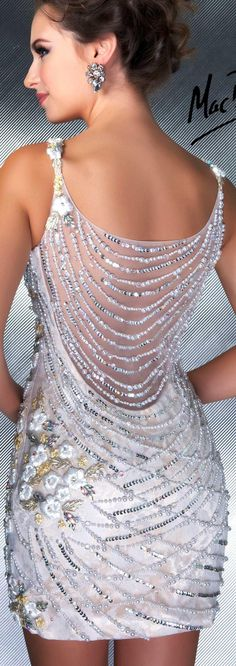 Mac Duggal couture dress ivory /nude #cocktail #dress #glitter COUTURE DRESSES STYLE 61089D BACK