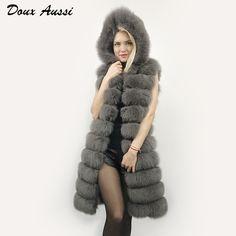 Hooded Genuine Fur Vest For Women Silver Gray Autumn Slim Fashion Real Fox Fur Waistcoat Warm Outwear Full Pelt Female Fur Coat