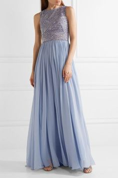 Zuhair Murad - Embellished Silk-blend Tulle And Georgette Gown - Lilac - IT38