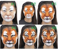 Make-up tiger - A simple guide and lots of Anr .- Tiger schminken – Eine einfache Anleitung und jede Menge Anregungen Make-up Tiger – A simple guide and lots of suggestions! Tiger Face Paints, Mime Face Paint, Tiger Face Paint Easy, Tiger Makeup, Animal Makeup, Face Makeup, Maquillage Halloween, Halloween Makeup, Halloween Face