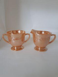 Anchor Hocking Fire King Laurel Peach Luster Sugar Bowl and Creamer Sugar Bowls And Creamers, Anchor Hocking, Tea Pot, Luster, I Shop, Conditioner, Peach, Tableware, Vintage