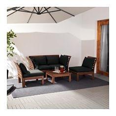 ÄPPLARÖ / HÅLLÖ 4-seat conversation set, outdoor, brown stained, black - brown stained/black - IKEA