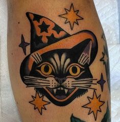 Irish Tattoos, Mom Tattoos, Body Art Tattoos, Sleeve Tattoos, Tatoos, Traditional Tattoo Halloween, Traditional Tattoo Cat, Ghost Tattoo, Witch Tattoo