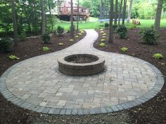 Brick pavers by All Natural Landscapes of Hartland Michigan Brick Paver Patio, Paver Walkway, Hartland Michigan, Outdoor Living, Outdoor Decor, Wall Design, Landscapes, Backyard, Fire