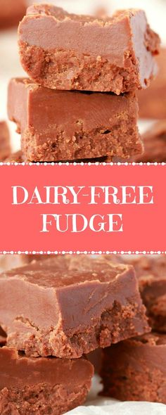 Rich and mega-chocolatey dairy-free fudge. This stovetop fudge is super quick to make, doesn't require any special equipment, is just and has perfect results! Vegan and gluten-free! Dairy Free Fudge, Dairy Free Chocolate Cake, Dairy Free Recipes, Vegan Chocolate, Gluten Free, Chocolate Chips, Healthy Vegan Snacks, Vegan Treats, Delicious Vegan Recipes