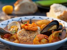 Bouillabaisse with Seared Halibut recipe from Guy Fieri via Food Network