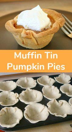 Mini Pumpkin Pies, Pumpkin Pie Recipes, Fall Recipes, Holiday Recipes, Pumpkin Tarts, Mini Pies, Mini Tartlets, Pumpkin Pie Cupcakes, Pumpkin Cookies