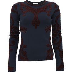 ZAC POSEN Chenille Jacquard Top (£655) ❤ liked on Polyvore featuring tops, sweaters, navy top, jacquard top, burgundy top, zac posen and navy blue top