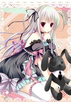 A Gothic Lolita anime girl in moe style.  Such a cute outfit and bunny plushie!