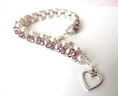 Antique Pink Swarovski Crystal and White Pearl Jewelry Bracelet, Beaded Jewelry, Vintage Inspired Wedding, Bridal, Bridesmaid Jewelry