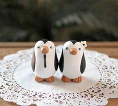 Penguin Wedding Cake Topper - Small. $100.00, via Etsy.