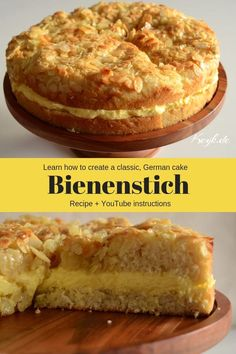 A delicious, classic German cake with a yeast based cake, vanilla pudding filling and candied almonds topping. What more could you want in a cake? Cup and metric measurements available. German Cakes Recipes, German Desserts, Fun Desserts, Cake Recipes, Dessert Recipes, Bienenstich Cake, German Bee Sting Cake, Pudding Cake, Pudding Desserts