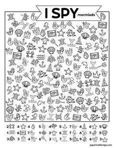 Fun mermaid and ocean themed I spy for a rainy day kids activity or indoor activity while stuck inside. Rainy Day Activities For Kids, Birthday Activities, Indoor Activities For Kids, Spring Activities, Learning Activities, Kids Learning, Toddler Activities, Toddler Games, Outdoor Activities