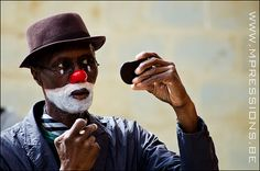Charles Gayle as Streets the Clown getting ready for his show by Marleen Hallaert #photography #Aalst #music