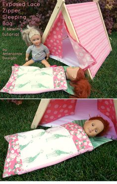 Doll Sleeping Bag Sewing Tutorial Doll sleeping bag tutorial by Ameroonie Designs. A cute sleeping bag sewing pattern for an american girl doll. Would make a fun gift! Easy Sewing Projects, Sewing Projects For Beginners, Sewing Hacks, Sewing Tutorials, Sewing Tips, Sewing Ideas, Simple Projects, Bag Tutorials, Sewing Crafts