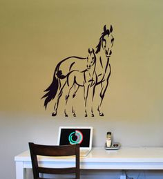 Superb Horse, Pony Sticker, Mustang Decal, Mare And Foal Decal, Girls Bedroom Decal