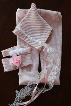 Newborn girls upcycled pink longies leggings pants bonnet and two headbands professional photo prop. $32.00, via Etsy.