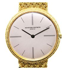 VACHERON & CONSTANTIN Yellow Gold Bracelet Dress Watch | From a unique collection of vintage wrist watches at http://www.1stdibs.com/jewelry/watches/wrist-watches/