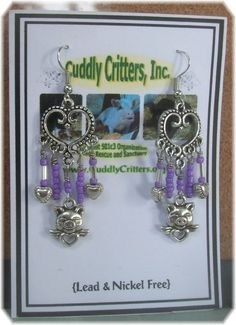 Tibetan Silver Angel Pig & Hearts Dangle Earrings - Purple – Unique Handmade #Handmade #DropDangle