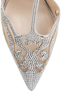 René Caovilla - Embellished Suede And Mesh Pumps - Silver - IT38.5