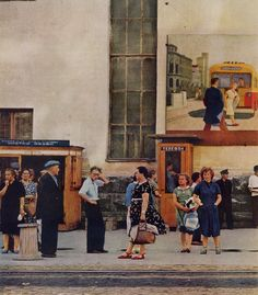 """Kodachrome by B. Anthony Stewart. From """"Russia as I Saw It,"""" National Geographic, Dec 1959. """"Safety!"""" """"Temperance!"""" Shout Propaganda Posters on a Sverdlovsk Wall. Where Russians gather, slogans exhort the people to toe the Communist line. Painting above this group at a streetcar stop stresses the perils of pedestrians. The cartoon, based on an old story, shows a drinker's downfall. The caricatured tippler brags like a peacock, plays like a monkey, roars like a lion, and passes out like a…"""