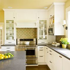 This is the same layout as out kitchen. I love how bright and light it is!